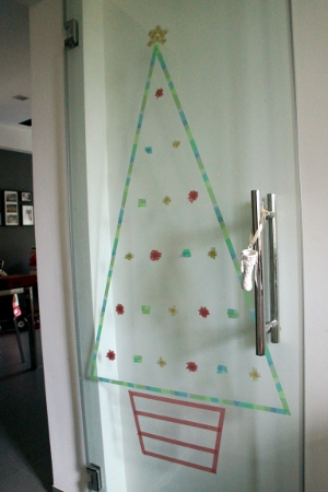 washi Christmas tree on kitchen door