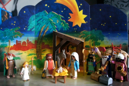 the kids' Playmobil nativity set