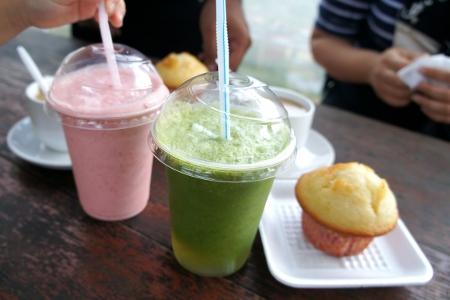 strawberry milkshake, butterhead lettuce juice, strawberry muffin