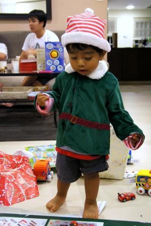 off-duty Christmas elf