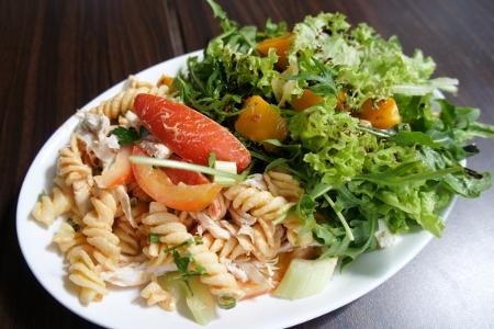 pasta salad and rocket & pumpkin salad