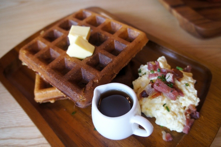 bacon waffles and egg salad