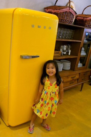 she wanted to take a photo with the fridge