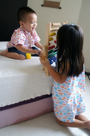 playing with the abacus