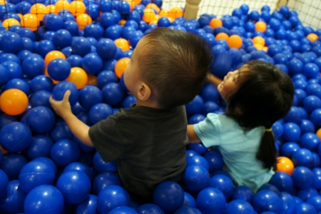 the kids in the ball pit