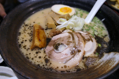 Sanpou Ramen containing pork cheek, pork belly and cha shu