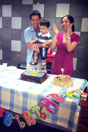 the birthday boy & parents