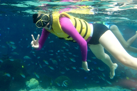 snorkeling in the Rainbow Reef