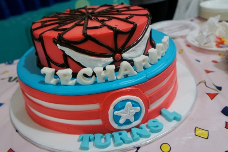 Spiderman and Captain America cake
