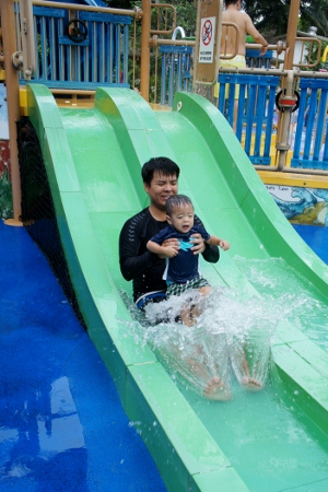 sliding with Daddy