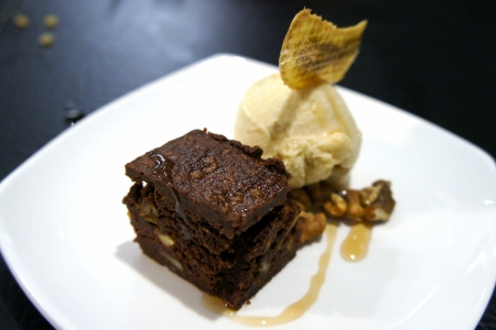 Brownie with Homemade Banana Ice-Cream