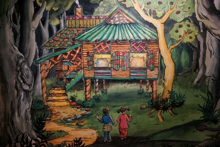 Hansel & Gretel approaching a kuih-kuih house