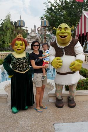 with Shrek and Fiona