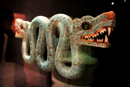 Double-headed serpent turquoise mosaic