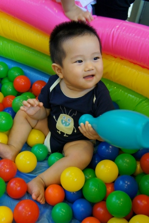 Aaron in the ball pit