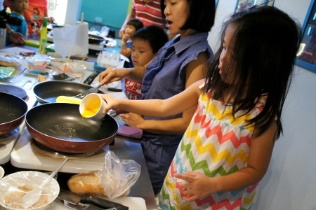 making our egg yolk sheet for the bumble bees