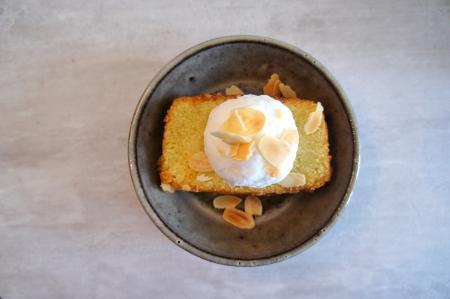 sugee cake with ice-cream