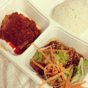 tahu telor and beef rendang nasi padang by Rumah Makan Minang