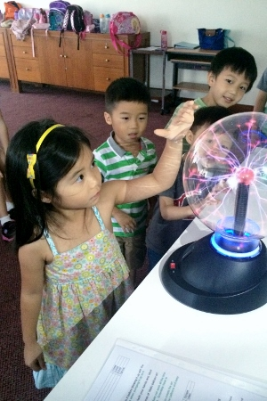 touching a lightning globe