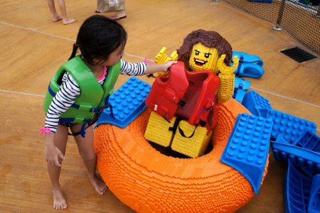 Anya thinks Lego girl needs a life jacket