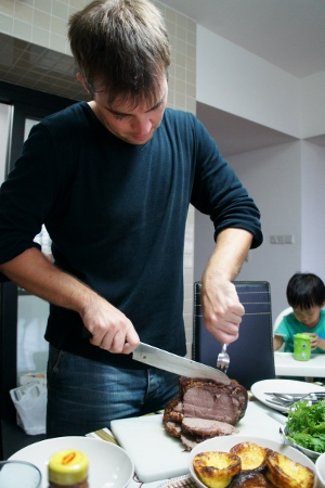 carving up the beef