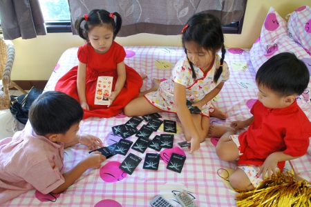 the cousins playing some card game