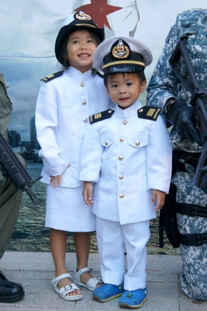 close-up of the the Navy officer uniforms