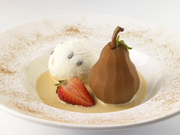Poached Pear with Butterscotch Sauce