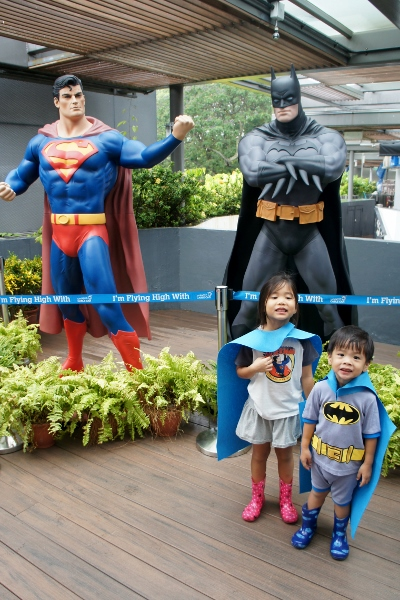 posing with the Super Heroes