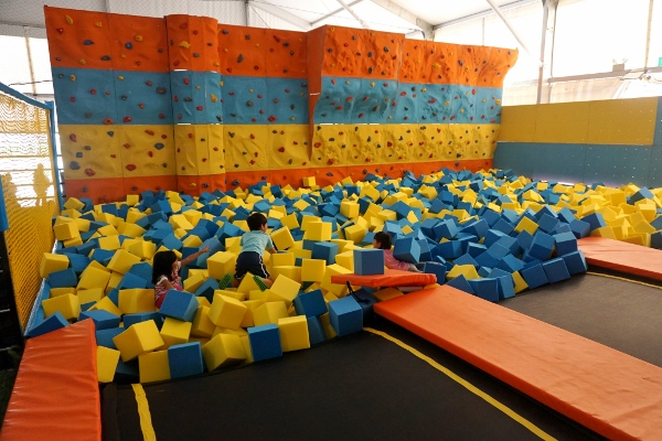 foam pit and rock wall