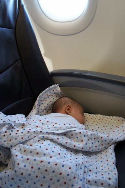 his first flight at less than 2 months old