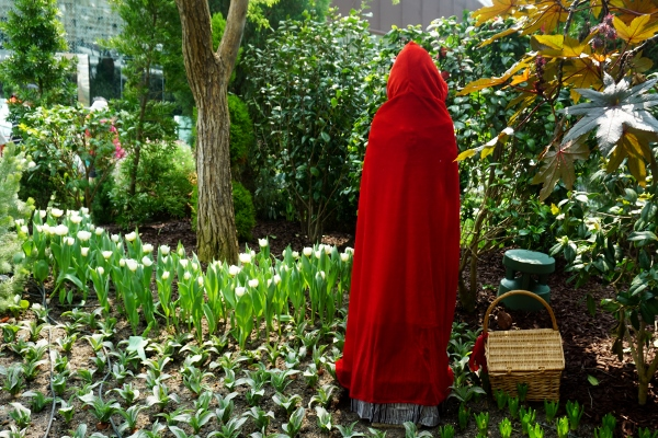 Little Red Riding Hood heading into the woods