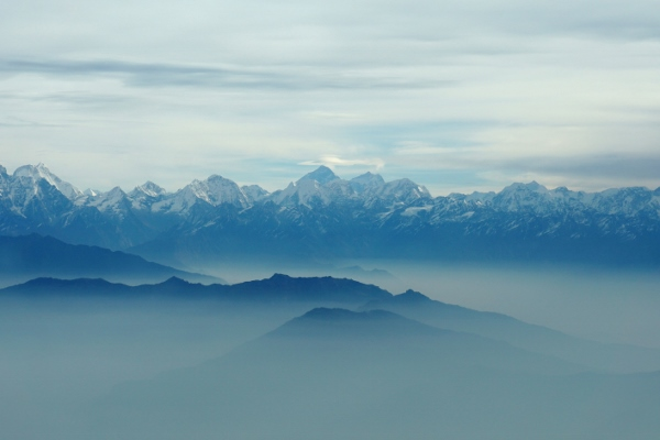 view of Everest from our mountain flight