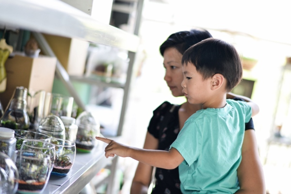 checking out some of the terrariums available (Photo credit: Ashley Mak)