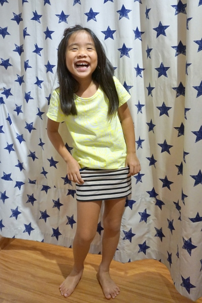 Salted Caramel Zebra Stripes Yellow Tee & Striped Navy Skirt